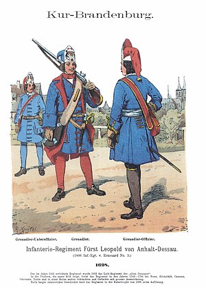 Prussian Army - Brandenburg troops of the infantry regiment of Leopold I, Prince of Anhalt-Dessau, by Richard Knötel.