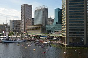 Patapsco River - The Inner Harbor from the Baltimore Aquarium. The Patapsco River forms the harbor as it empties into the Chesapeake Bay.