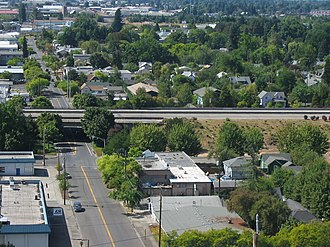 Oregon Route 126 - This ramp stub, as seen from the west side of Skinner Butte, was supposed to provide access to the canceled Roosevelt Freeway from Interstate 105.