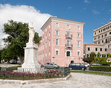 The Ionian Academy with the monument of Ioannis Kapodistrias, Corfu.