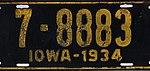 Iowa 1934 license plate - Number 7- 8883.jpg