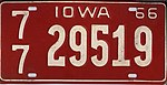 Iowa 1966 license plate - Number 77-29519.jpg