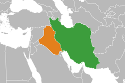 Map indicating locations of Iran and Iraq