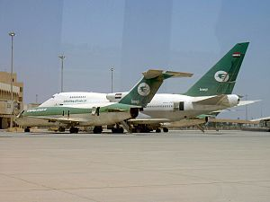 An Iraqi Airways Boeing 727-200 and Boeing 747...