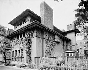Heller House - A view of the east (front) and north elevations of the Heller House.