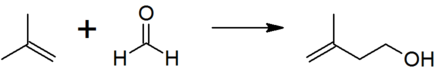 The reaction of isobutene with formaldehyde to give isoprenol, the first step in the industrial manufacture of prenol.
