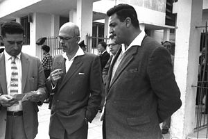 Israel Beer - Beer (center), outside the courthouse and flanked by police officers, during the time of his trial in 1961