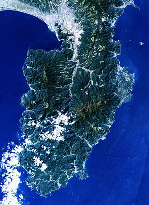 Izu Peninsula - Landsat image with high-resolution data from Space Shuttle.