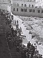 JEWISH PILGRIMS ON THEIR WAY FROM MOUNT ZION TO THE WAILING WALL DURING THE SUCCOT PILGRIMAGE IN JERUSALEM. חג סוכות. בצילום, מתפללים בדרכם מהר ציון אD826-027.jpg