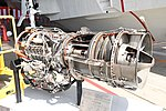 JMSDF US-1A T64-IHI-10E turboprop engine(cutaway model) left rear view at MCAS Iwakuni May 5, 2019.jpg