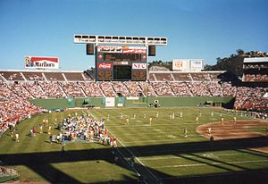 History of the San Diego Chargers - The Chargers hosting a pre-season game at San Diego Jack Murphy Stadium in 1987.
