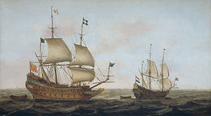 History of the French Navy - A warship, built in 1626 on orders of Louis XIII in a Dutch yard, arriving in a Dutch port under guidance of a Dutch ship, Jacob Gerritz. Loef.