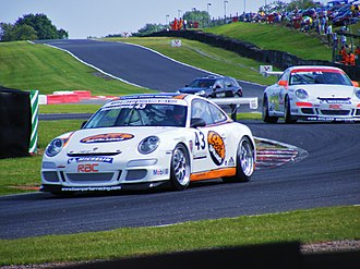 Oulton Park - Jake Rosenzweig goes through Knickerbrook corner at Oulton Park during a Porsche Carrera Cup race.