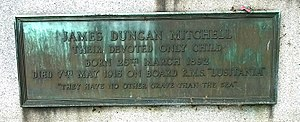 James Duncan Mitchell, Lusitania 1915, Western Cemetery, Dundee