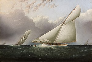 James Edward Buttersworth - 'Puritan' and 'Genesta' in the 1885 America's Cup.jpg