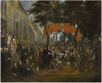 Jan Baptist van Meunincxhove - The Reception of Charles II and his Brothers in the Schuttershof