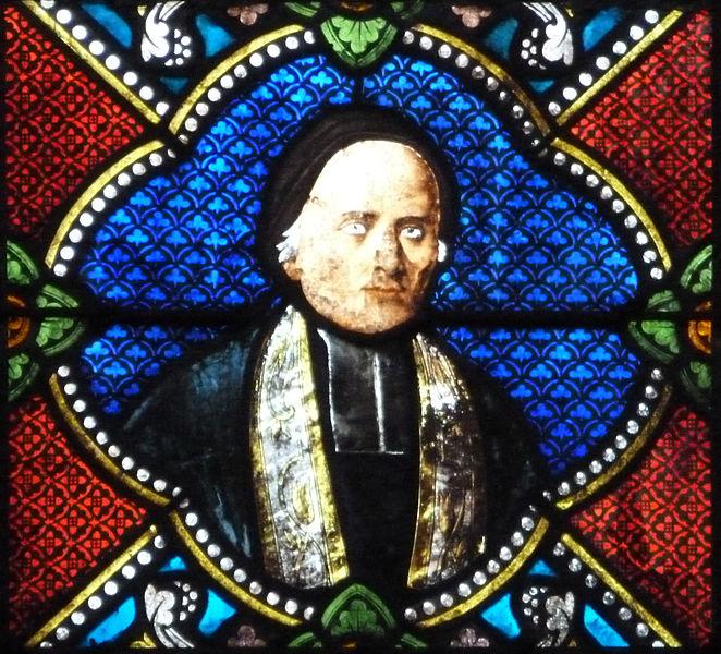 Médaillon d'un vitrail représentant Jean Decker, curé de Hommarting, ami de Jean-Martin Moye.