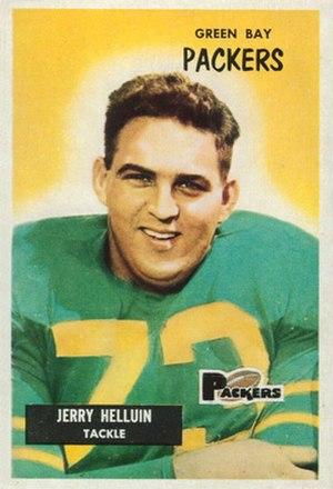 Jerry Helluin - Helluin on a 1955 Bowman football card
