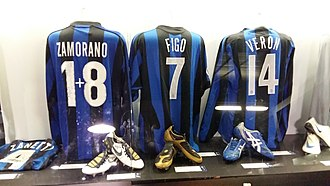 Juan Sebastián Verón - Verón's Inter jersey (number 14) next to Zamorano (one plus eight) and Figo (seven) in the San Siro museum