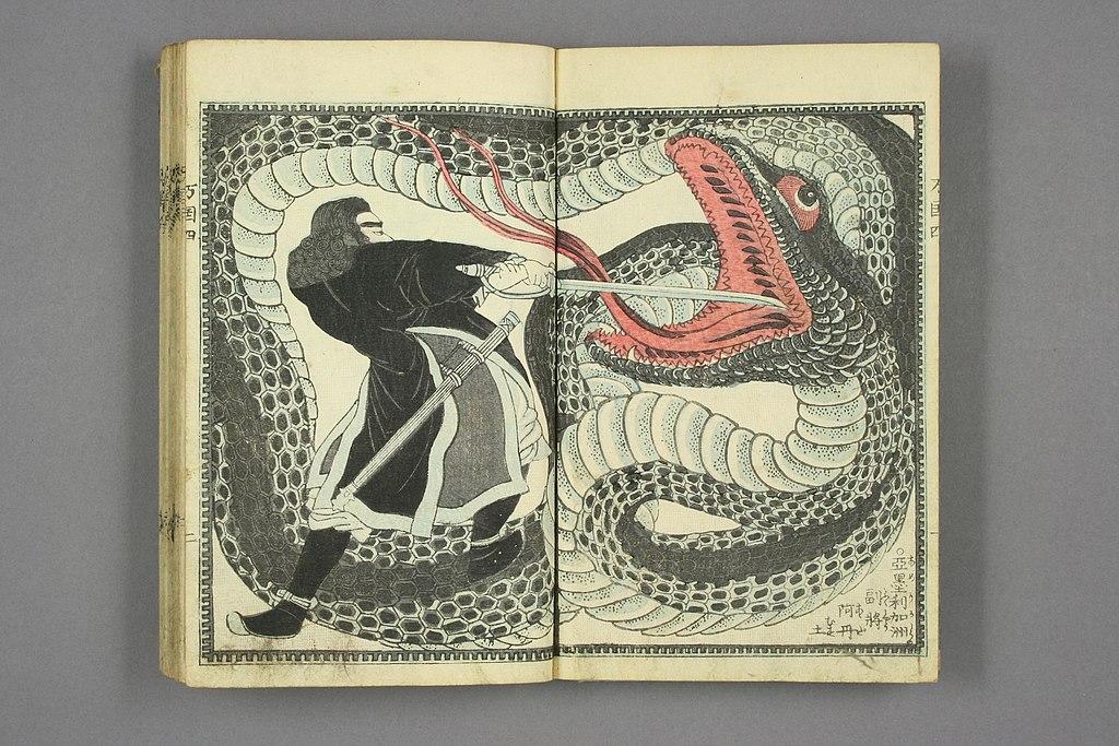 John Adams battling snake