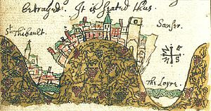 John Bargrave - Detail of a page from John Bargrave's travel diary, showing the French wine-producing hilltop town of Sancerre in the centre, the Loire River on the right and the village of Saint-Thibault on the left.