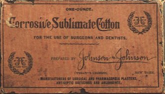Johnson & Johnson - Early corrosive sublimate cotton packaging with the signature logo