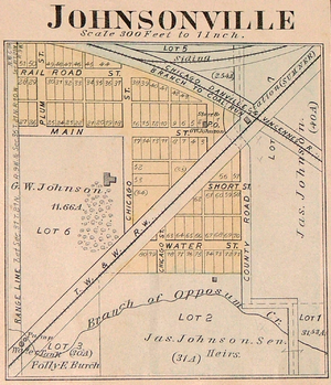 Johnsonville, Indiana - Map from 1877 Warren County atlas
