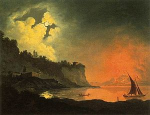 Vesuvius in Eruption (Wright painting) - Image: Joseph Wright of Derby View of Vesuvius from Posilippo WGA25900