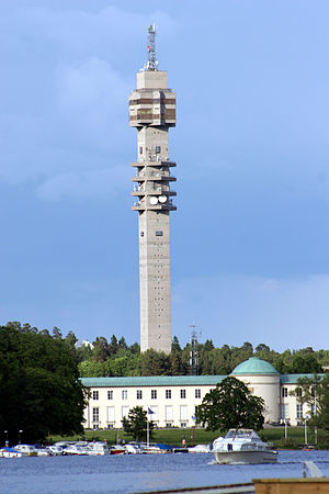 Kaknästornet - View of the tower. The Stockholm Maritime Museum in the foreground.