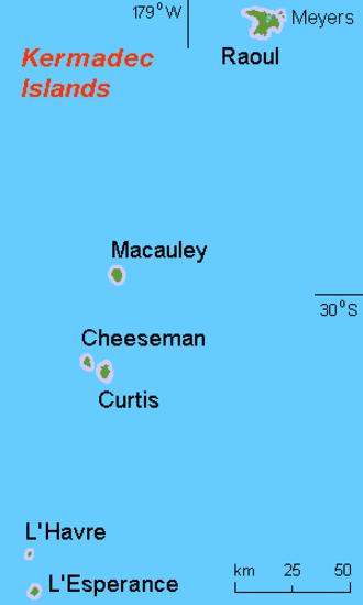 Kermadec Islands - map of the Kermadec Islands