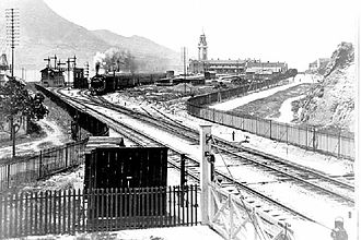 Kowloon railway station (KCR) - A train departing from Kowloon Station, picture taken in 1916.
