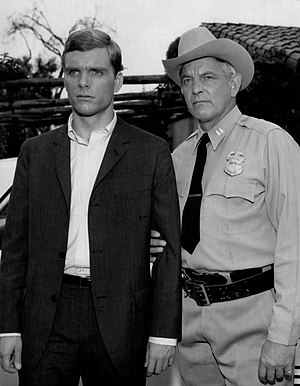 "Keir Dullea - Dullea (left) with Denver Pyle in Kraft Mystery Theatres ""Cry Ruin"" (1962)"