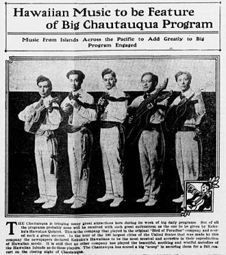 Joseph Kekuku - A picture of the Kekuku's Hawaiian Quintet in a 1916 newspaper