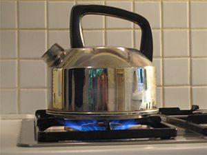 Kettle - A stovetop kettle on a gas burner; this type, without a lid, is filled through the spout.