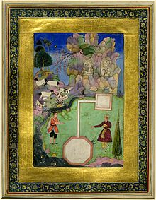 Khusrau stand on either side of the canal built to supply Shirin with the milk of goats and cows, taken from the Khamseh of Nizami.jpg