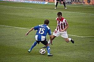 Jon Aurtenetxe - Aurtenetxe (right) in action for Athletic Bilbao