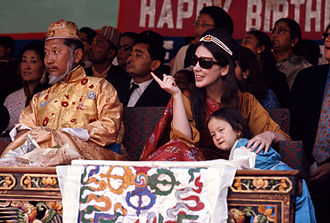 Sikkim - The last Chogyal, Palden Thondup Namgyal, and his American born queen consort, Hope Cooke, with their daughter in 1971