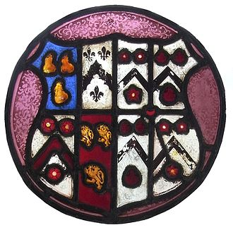 Manor of Affeton - Heraldic stained-glass roundel representing marriage of Sir Hugh Stucley (1496–1559) and Jane Pollard, King's Nympton Church