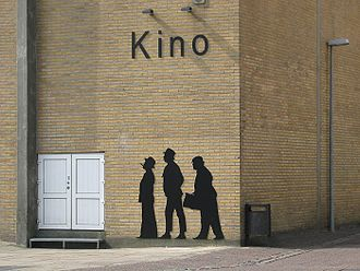 Olsen Gang - Olsen Gang silhouettes at a cinema wall in Thisted, Denmark.