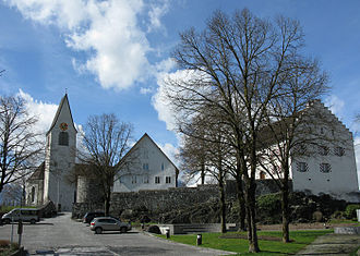 Liechtenstein Institute - The chapel hill of Bendern, with the Liechtenstein Institute in the middle of the picture