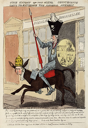 "James Dodsley - Political cartoon of Edmund Burke, with the shop labelled ""Dodsley Bookseller"" in the background, which had published Burke's Reflections on the Revolution in France in 1790."
