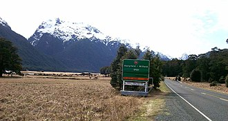New Zealand State Highway 94 -  Road Status Sign at Knobs Flat Rest Area