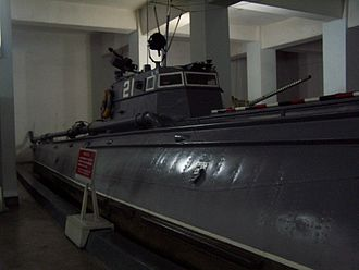 Battle of Chumonchin Chan - Torpedo boat No.21 on display at the Museum of Victory of the Fatherland Liberation War, Pyongyang. According to North Korean propaganda, this boat received credit for sinking the USS Baltimore. This was despite the fact that the USS Baltimore was not deployed to Korean waters during the war.