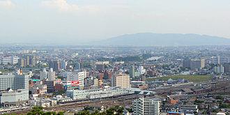 Kumamoto Station - Kumamoto Station viewed from Mount Hanaoka, June 2005