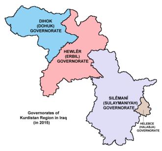Sulaymaniyah Governorate - Image: Kurdistan governorates 2015