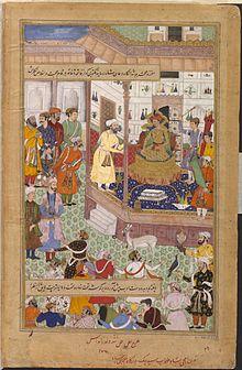 Miniatura tratta dal codice Akbarnama, ca. 1590, l'imperatore Akbar riceve Sayyed Beg, ambasciatore dello Shah Tahmasp I nel 1562