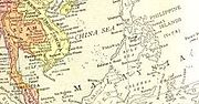"""English Map of Southeast Asia, """"MALAYSIA"""" typeset horizontally so that the letters run across the northernmost corner of Borneo and pass just south of the Philippines."""