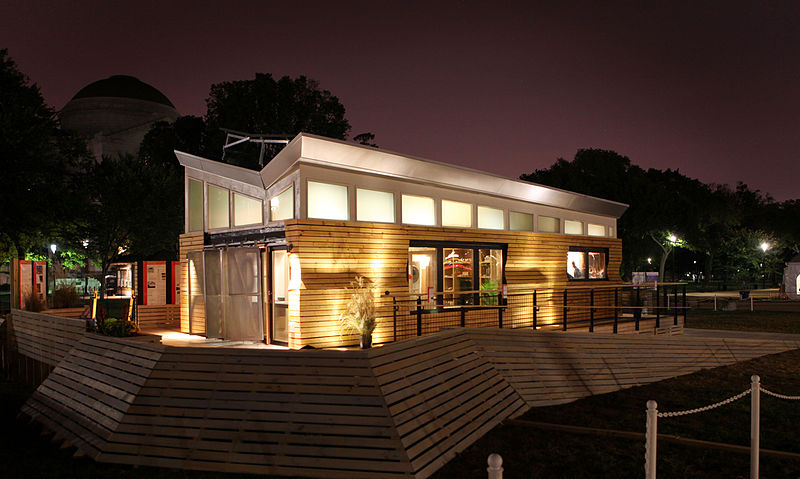 File:LED lights strategically placed in the base of the house and deck help the University of Wisconsin-Milwaukee's home illuminate.jpg