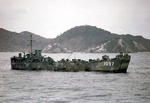 LST-1097 anchored in the Kerama Retto (Japan), June 1945