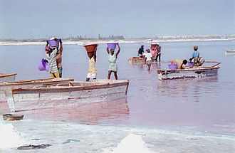 Lake Retba - Boats on the lake